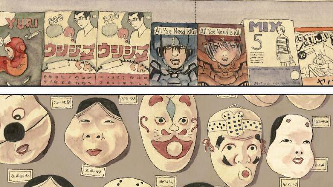 Für westliche Augen bietet Japan eine ungewohnte Mischung aus Tradition und Moderne: Mangas und Masken des japanischen Theaters.