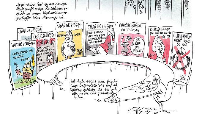 """Kurz nach dem Anschlag auf """"Charlie Hebdo"""": Catherine Meurisse versucht, sich an die ermordeten Kollegen zu erinnern."""