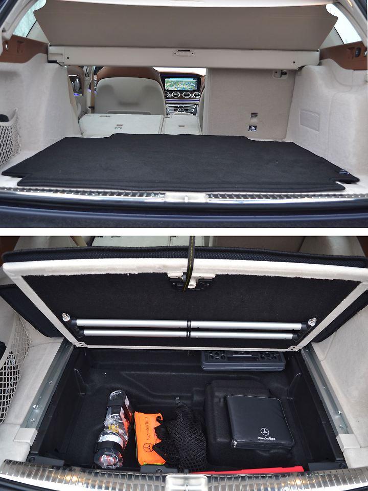 Wer sich für eine helle Ausstattung entscheidet, der ist gut beraten mit einer dunklen Matte den Kofferraum zu schützen. Unter dem Ladeboden geht es aufgeräumt zu.