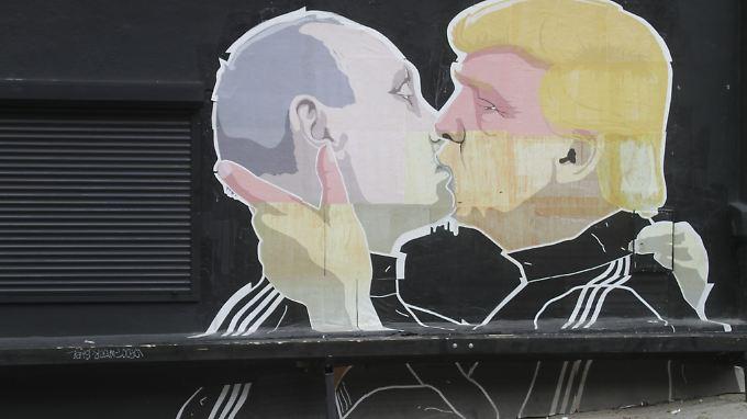 Das Graffiti von Putin und Trump in Vilnius