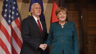 Bekenntnis der USA zur Nato: Merkel und Pence halten Rede auf Münchner Sicherheitskonferenz