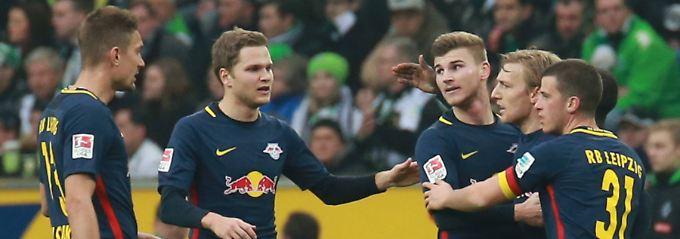 Alles für die Katz? Leipzigs Emil Forsberg und Kollegen beim jüngsten Sieg in Mönchengladbach.