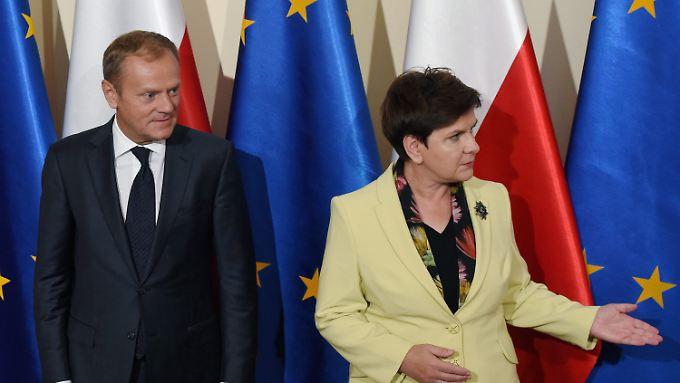 Die polnische Ministerpräsidentin Beata Szydlo ist kein Fan des polnischen EU-Ratspräsidenten Donald Tusk.