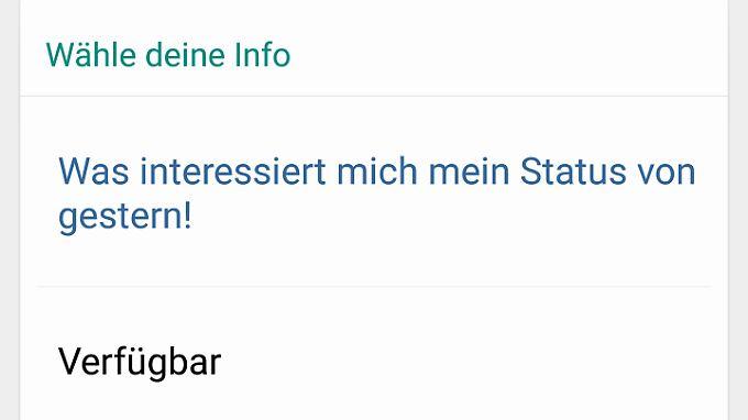 Der alte Whatsapp-Status heißt zwar nicht mehr Status, ist aber wieder da.