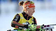"""""""Beim Schießen musste ich reagieren, habe aber in die falsche Richtung gedreht"""": Laura Dahlmeier."""