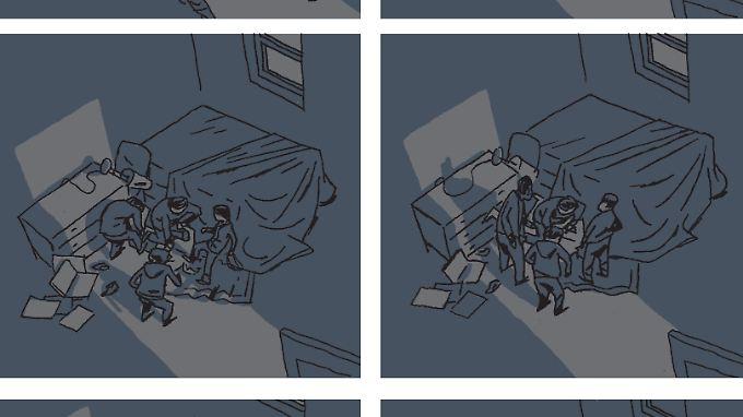 Es geht sehr schnell: Die Kidnapper dringen in das Zimmer ein und nehmen Christophe André mit.
