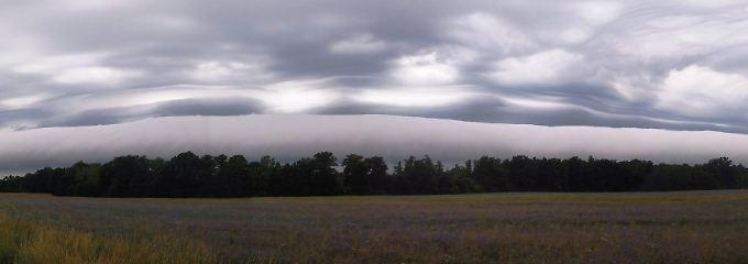 Wolken in einer Stratocumulus-volutus-Formation.