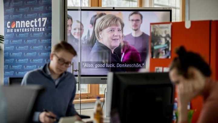 In der Wahlkampfzentrale der CDU arbeiten Junge Union, Parteistrategen und Werber der Agentur Jung von Matt zusammen dafür, dass Angela Merkel Kanzlerin bleibt.