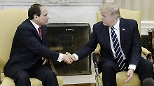 Im Gegensatz zu Angela Merkel gibt es für Abdel Fattah al-Sisi einen Handschlag mit Donald Trump.