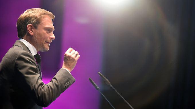 Im Rampenlicht des Wahlkampfs: Lindner auf dem Landesparteitag Anfang April.