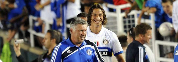 Auch in Mailand schon ein Paar: Zlatan Ibrahimovic und Carlo Ancelotti bei Inter im Jahr 2009.