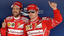 Rot führt: Sebastian Vettel und Teamkollege Kimi Räikkönen.