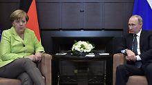 Treffen in Sotschi: Merkel und Putin beharren auf Minsk