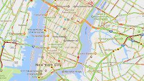 Staus in New York: Mit Mobilfunkdaten ermittelt Google Maps das Verkehrsaufkommen in Echtzeit.