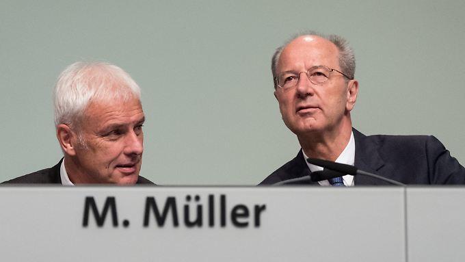 Die aktuelle Führungsspitze des VW-Konzerns: Müller (l.) und Pötsch sind seit Jahren auch im Vorstand der Beteiligungsgesellschaft Porsche SE.