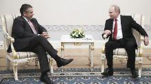 Dinner in Petersburger Residenz: Gabriel und Schröder speisen mit Putin