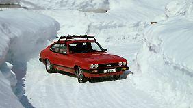 Macht auch im Schnee eine gute Figur: der ab 1981 produzierte Ford Capri 1.6.