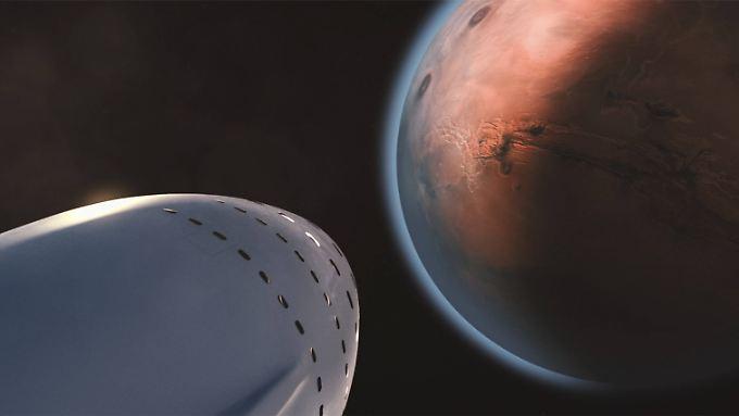 """Elon Musk, der in """"Mars"""" mehrfach zu Wort kommt, will mit einer Kombination aus Rakete und Raumschiff mindestens 100 Passagiere zum Roten Planeten bringen."""