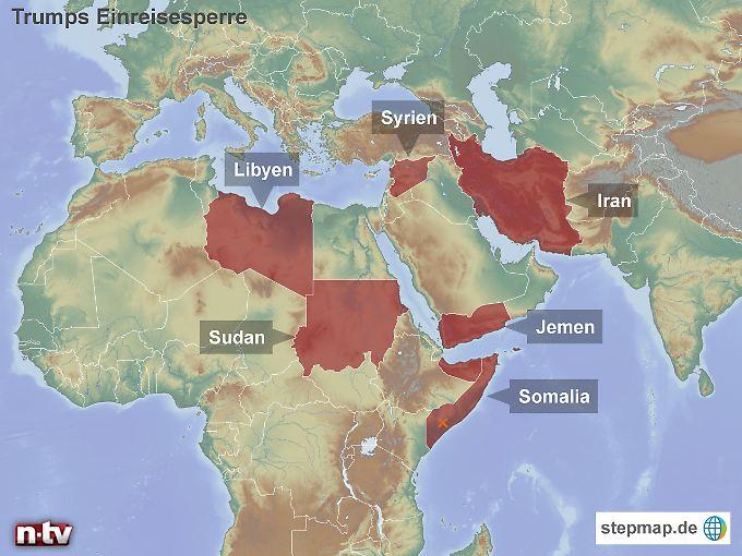 """Menschen aus Staaten unter Generalverdacht: Trumps temporärer """"Travel Bank"""" gilt für Reisende aus Iran, Jemen, Libyen, Somalia, Sudan, Syrien."""