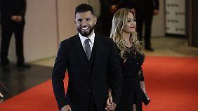 Auch Manchester City-Fussballer Sergio Aguero und seine Partnerin Karina Tejeda waren unter den Gästen.