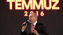 Recep Tayyip Erdogan wirbt für die Todesstrafe.