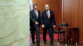 Martin Schulz kam extra ins Auswärtige Amt, um sich mit Sigmar Gabriel abzusprechen.