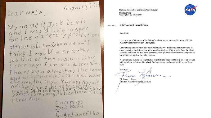 Jacks Brief und die Antwort der Nasa.