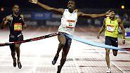 31. Mai 2008, New York, Grand-Prix-Meeting: Glen Mills hat ein Einsehen und lässt seinen Schützling auf die 100 m los.