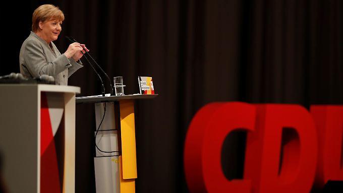 Merkel sprach zum Wahlkampfauftakt in Dortmund.