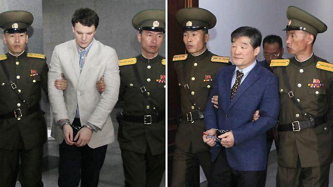 Der verstorbene Otto Warmbier (li.) und der noch inhaftierte US-Bürger Kim Dong Chul (re.)