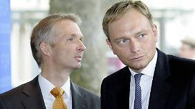 Lindner mit seinem früheren Fraktionskollegen Gerhard Papke