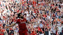 Wie im Rausch: Mohamed Salah feiert das dritte Tor für Liverpool.