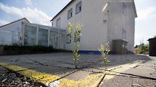 """Tatort in Georgensgmünd: Eine gelbe Linie markiert die Grenzen rund um das Anwesen von """"Reichsbürger"""" Wolfgang P."""