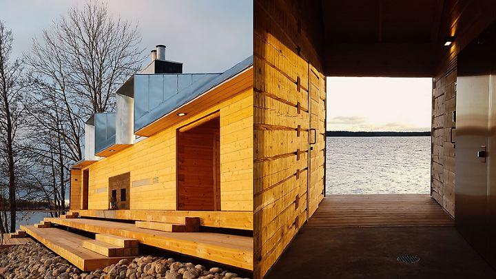 Die neue Sauna liefert den perfekten Ausblick auf die umliegende Ostsee.