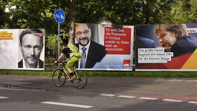 Lindner, Merkel und Schulz: die beliebtesten der insgesamt neun Spitzenkandidaten der sechs Parteien, die dem neuen Bundestag voraussichtlich angehören werden.