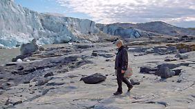 Auf Grönland schaut sich Gore die Folgen des Klimawandels an - schmelzende Gletscher.
