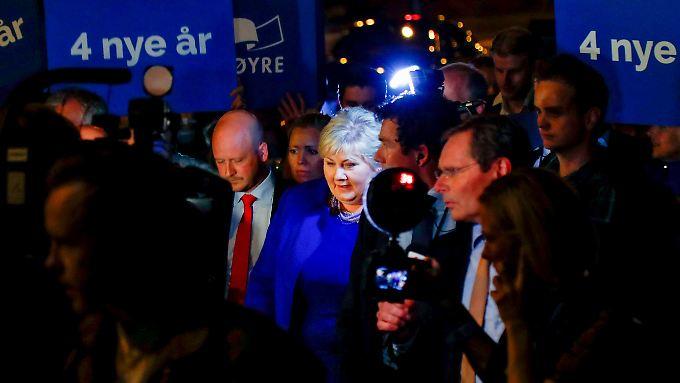 Erna Solberg könnte wieder Regierungschefin in Norwegen werden. Es hängt aber an ihren Partnern.
