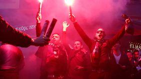Krawalle beim Spiel gegen Olympique Lyon.