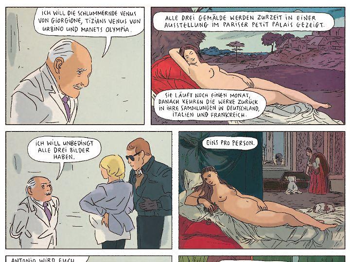 """Drei Gemälde fordert der Mafiapate, darunter die """"Olympia"""" von Manet - so heißt auch der Comic."""