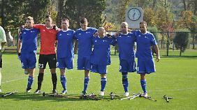 Deutsche Nationalmannschaft der Amputiertenfußballer im Spiel gegen Spanien.