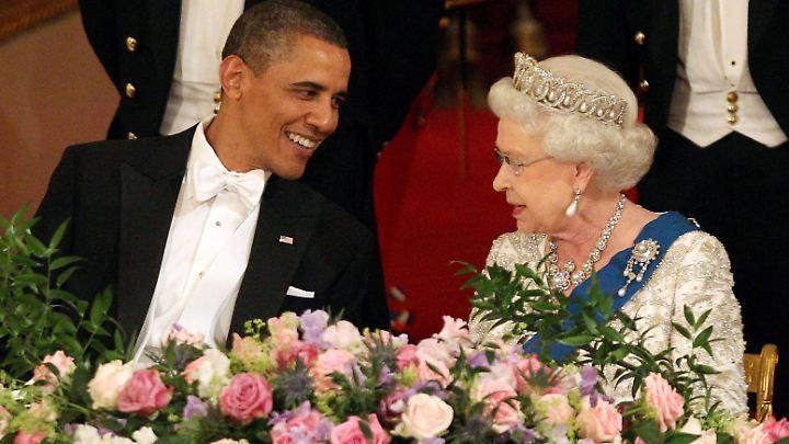 Queen Elizabeth und Ex-Präsident Barack Obama 2011 bei Staatsbankett im Buckingham Palace.