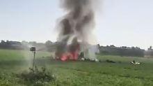 Feier zum Nationalfeiertag: Spanischer Eurofighter zerschellt am Boden