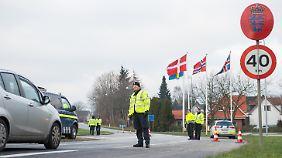 Kontrolle am deutsch-dänischen Grenzübergang Harrislee im letzten Jahr.
