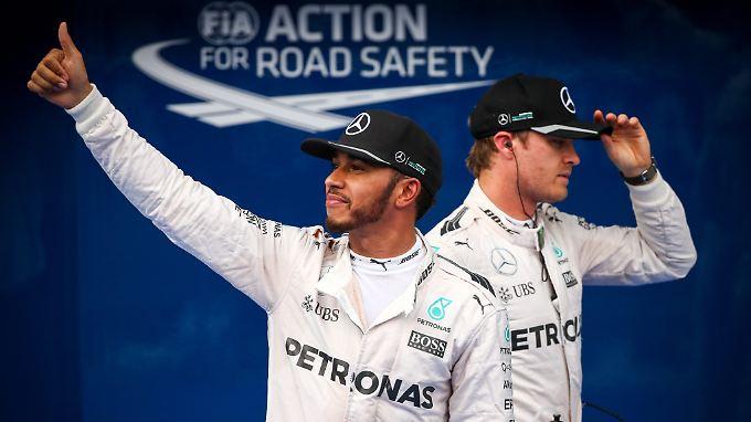 Hamilton (l.) und Rosberg (r.) in der Vorsaison: Konkurrenzkampf pur statt Teamwork.