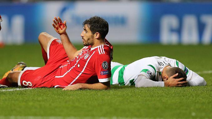 """""""Es war nur Blut"""": Javi Martinez kämpfte den Ball zum Münchner 2:1-Sieg ins Celtic-Tor und nahm dabei auch persönliche Blessuren in Kauf."""