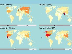 Die Grafik zeigt, wo die vier Städte weit über ihre Grenzen hinaus für Treibhausgas-Emissionen sorgen.