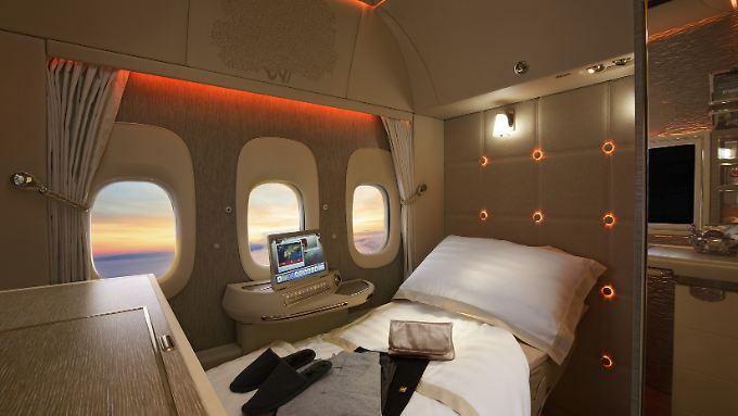 Die neue First Class von Emirates in der Boeing 777.