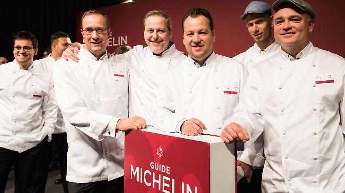 Deutschlands neue Spitzenköche kamen zur Präsentation des Michelin-Guides.