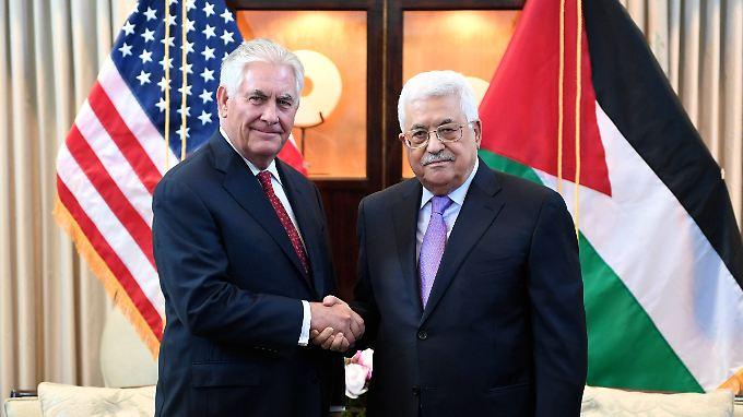 Im März sprachen sie noch miteinander: Die Außenminister der USA und Palästinas, Tillerson und al-Malki.