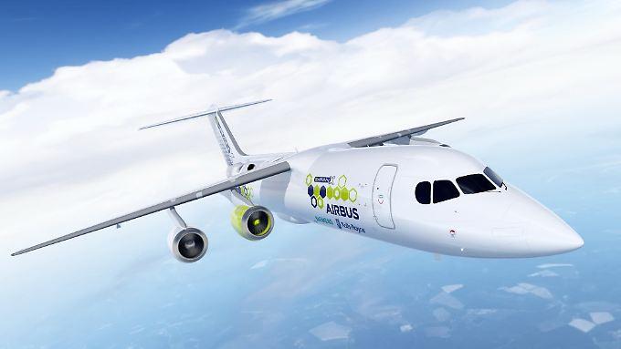 Modell vom Hybrid-Testflugzeug Airbus E-FanX.
